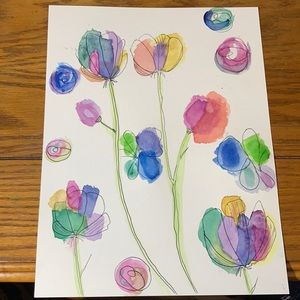 Floral abstract watercolour art wall decor